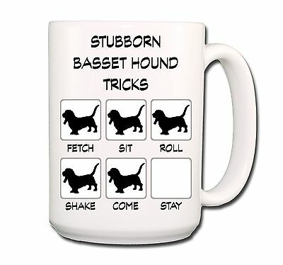 BASSET HOUND Stubborn Tricks EXTRA LARGE 15oz COFFEE MUG