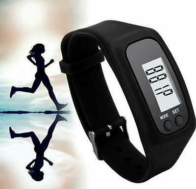 Black Lcd Pedometer Wrist Watch Bracelet Sport Calorie Step Walking Counter