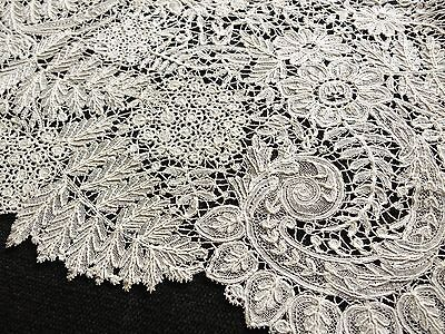 ELABORATE Antique Handmade DUCHESSE LACE Length 8x64 Ferns Hydrangeas Leaves