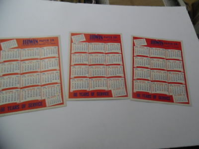 1953 IRWIN PAPER COMPANY Advertising Wall Calendar Lot of 3 Quincy Illinois