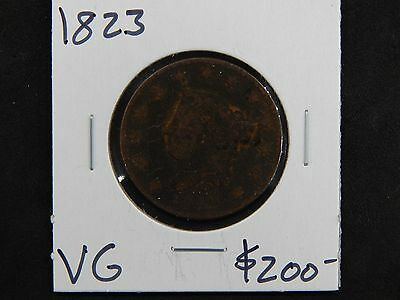 1823 Very Good Coronet Head Large Cent Circulated