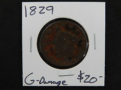 1829 Good Coronet Head Large Cent Circulated - Damaged