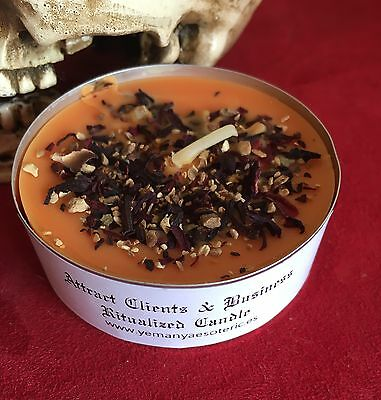 ☆ ATTRACT CLIENTS & BUSINESS ☆ HERBAL CANDLE WICCA RITUALIZED Ø 5 cm