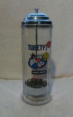 1994  Looney Tunes GLASS Straw Holder SYLVESTER & TWEETY MADE IN USA