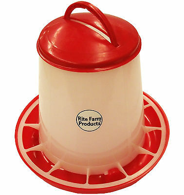 Small Rite Farm Products Hd 3.3 Pound Chicken Feeder Lid & Handle Poultry Chick