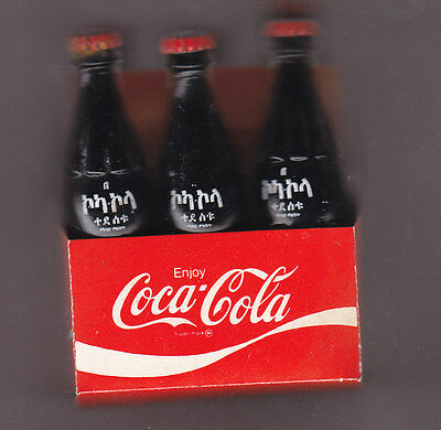 Mini 6 Pack Carton Coca-Cola   Bottles  Ethiopia 3 Inches Tall