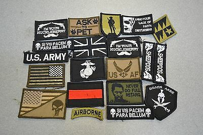 Lot of 20 Mixed Military/Morale Patches Seconds As-is, Assorted Shapes and Sizes