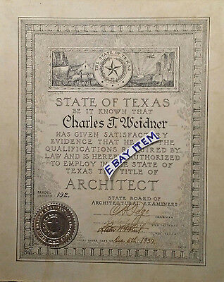 1937 ARCHITECT CH Page STATE BOARD ARCHITECTURAL EXAMINERS Charles Weidner TEXAS