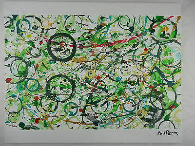 Phil Pierre - GREEN BUBBLES 028 - new original abstract painting - cotton canvas
