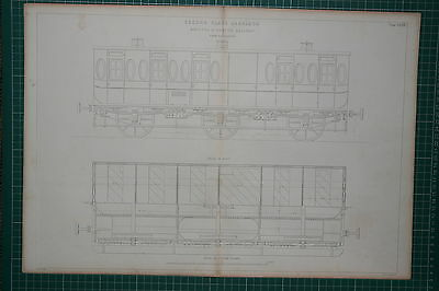 1855 Large Locomotive Print ~ Second Class Carriage Bristol & Exeter Railway