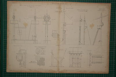 1855 Large Locomotive Print ~ Semaphore Signals Road Station Auxiliary Stevens
