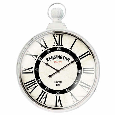 80cm Shabby Chic Round Kensington Station Wall Clock w/ Handle White Large Decor