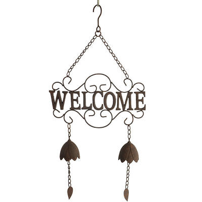63cm Fleur Welcome Hanger w/ 2 Bells Wind Chime/Sign/Windchime Rustic Home Decor