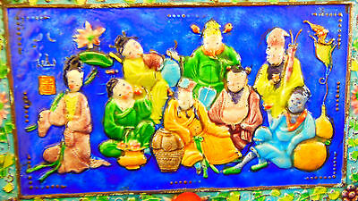 Antique Old Chinese 8 Immortals Enamel Cloisonne Box Top Side Panel