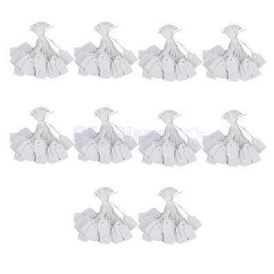 100pcs/ Lot White Strung Price Ticket Tags Labels Retail Clothing Accessory