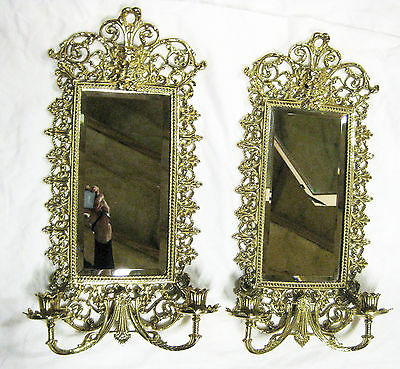 RARE Pristine Pair of Jefferson's Monticello Mirrored Brass Sconce Reproductions