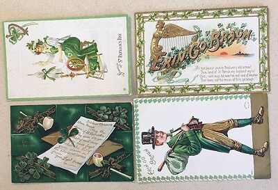 LOT 4ST PATRICK'S  DAY VINTAGE POSTCARDS CARDS TUCK Variety Publishers