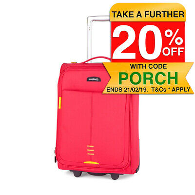 Paklite Featherweight 2.1kg 30L Cabin 53cm Travel Luggage/Suitcase 2 Wheels Red