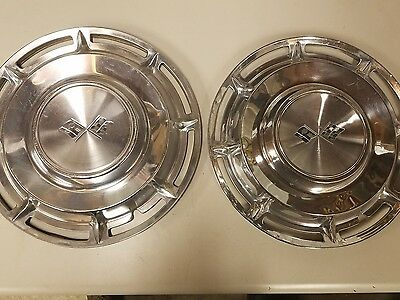 Hub Cap Set Of 2 Chevrolet Chevy Cross Flag Wheel Covers Hubcaps 14 Inch ""
