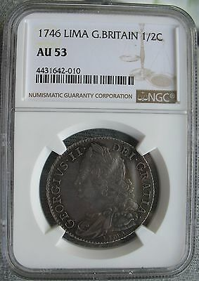 1746 Lima Great Britain 1/2 Crown Ngc Au-53