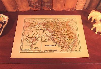 Original 1893 Antique Map MARYLAND Baltimore Frederick Annapolis Rockvillle MD