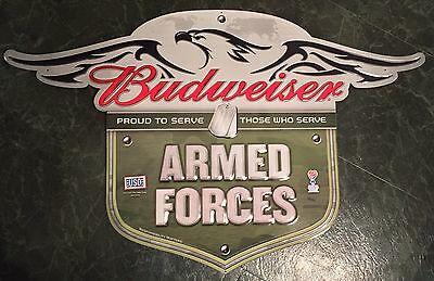 "Budweiser Armed Forces Proud To Serve USO Metal Beer Sign 36x22.5"" - Brand New"