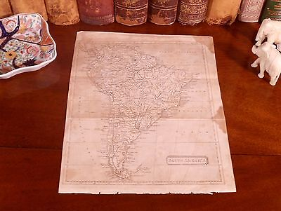 Rare Original 1809 Antique World Map SOUTH AMERICA Argentina Brazil Chile Peru