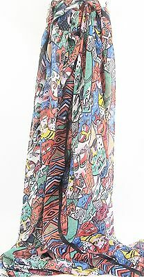 Cat Scarf - Multi-Coloured Red /Green Abstract Cats Approx 180cm x 90/95cm
