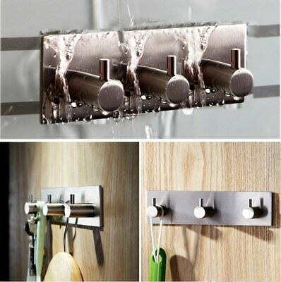 304 Stainless Steel 3M Self Adhesive Coat Towel Robe Hooks Rack Rail Bathroom