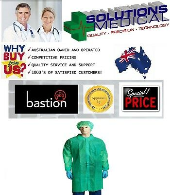 Lab Coat Green Protective Disposable Dust Coat Unisex Dress Up Polypropylene