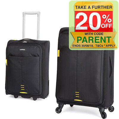 2PK Paklite Featherweight/Medium/Cabin Travel Luggage Set/Suitcase Wheels/Black