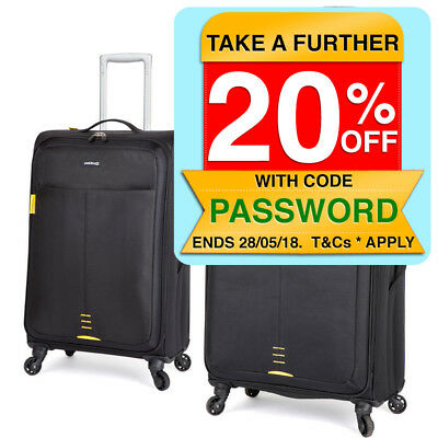 2PK Paklite Featherweight Large/Medium Travel Luggage Set/Suitcase Wheels Black