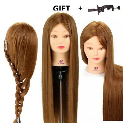 "Doll 26"" 30% Hairdressing Hair Training stylists head Mannequin Model + Clamp"