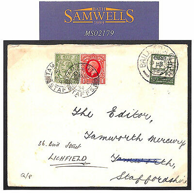 MS2179* 1934 EIRE Dublin GAELIC SPORTS ISSUE Cover Forwarded Tamworth Staffs