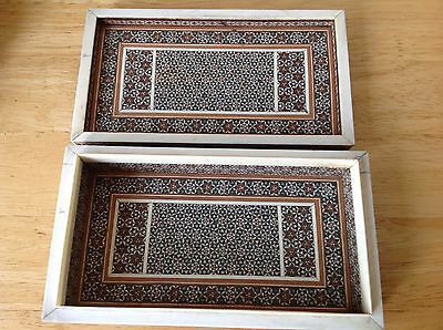 Antique anglo Indian wooden SADELI MOSAIC trinket jewellery box - Mosaic Inside