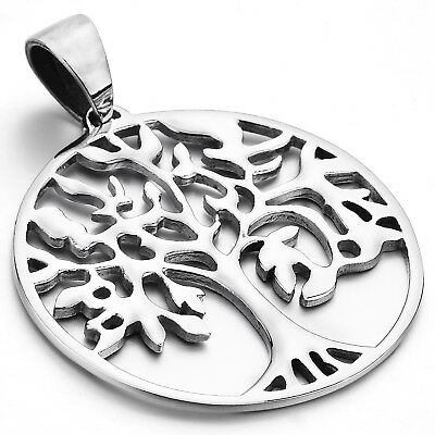 MENDINO Men's Life of the Tree Polished Stainless Steel Pendant Chain Necklace
