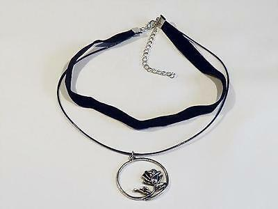 FREE UK P/&P.......CG0352 BLACK SUEDE /& RIBBON CHOKER NECKLACE WITH PEARL DROP