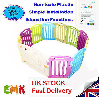 8+2 Panels Plastic Play Pen Mixed Colors Baby Playpen With Education Functions