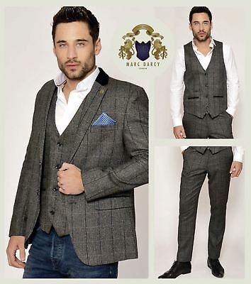 Mens Marc Darcy Designer Charcoal Grey Tweed Check Blazer Waistcoat Trousers