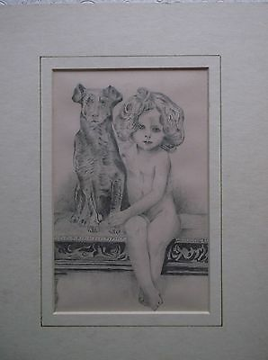 A Graphite Drawing A Beautiful Portrait Study Of A Young Girl And A Dog