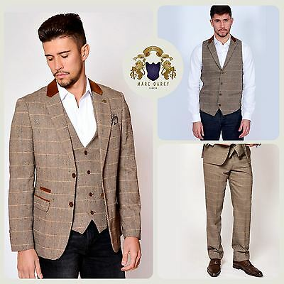 Mens Marc Darcy Designer Tan Tweed Check Blazer Waistcoat Trousers