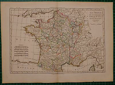 1779 Dated Rigobert Bonne Map ~ France By Governments