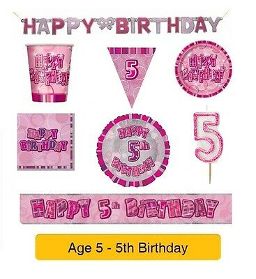 AGE 5 - Happy 5th Birthday PINK GLITZ - Party Banners, Balloons & Decorations
