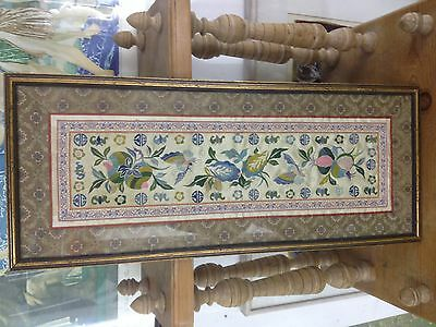 Chinese Silk Embroidered Panel-Framed