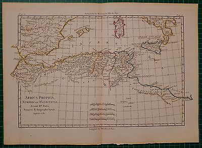 1780 Dated Rigobert Bonne Map ~ Africa Northern Section Numidia Mauritania