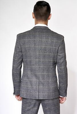 Mens Marc Darcy Designer Grey Check Tweed Blazer Waistcoat Trouser