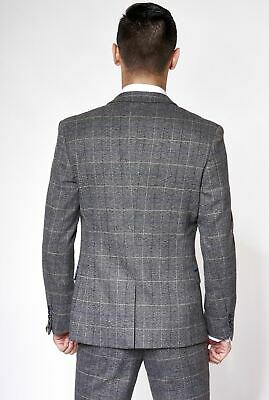 Mens Marc Darcy Tweed Blazer Waistcoat Trouser 2/3 Piece Check Herringbone