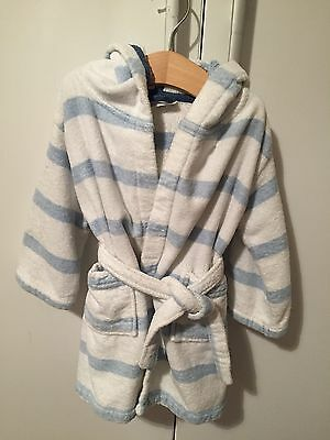 Baby Boys Blue & White Stripe Dressing Gown By The Little White Company 18-24M