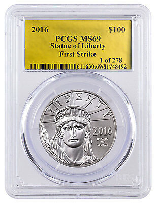 2016 1 oz Platinum American Eagle $100 PCGS MS69 FS (Gold Foil Label) SKU46257