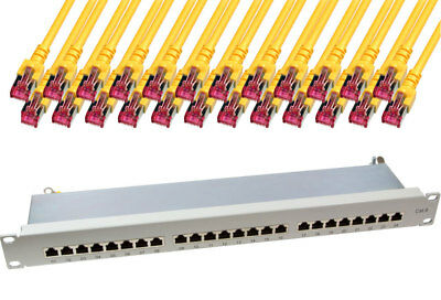 24 Port RJ45 Patchpanel grau CAT6 geschirmt LSA + 24 x 5m CAT.6 Patchkabel gelb